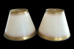 Romela - Pair Of Parchment Lampshades - Gilt And Enamel Borders - Signed - C.1985