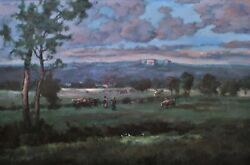Large 40 3/4 X 28 3/4 Unsigned Landscape Oil Painting On Canvas