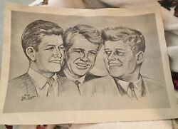 Bob Maccourt Sketch Of John F Kennedy, Ted And Robert F. Signed Dated 7-1-1968