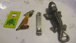 4 Vintage Bottle Openers Iguana Lizard, Parrot, Sun Drop Ad, Quick And Easy Ad