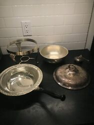 Vintage Silver Plate Wm. Rogers 5 Piece Chafing Dish Set