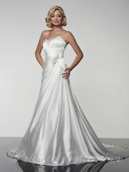 House Of Wu Private Collection 18916 White W/silver Bling Size 0 Wedding Dress