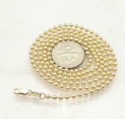 2.5mm All Shiny Round Bead Ball Chain Necklace Real Solid 14k Yellow Gold