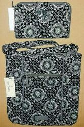 Vera Bradley Retired Free Zip Id Charcoal Medallion Hipster And Turnlock Wallet