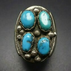 Vintage Navajo Heavy Gauge Sterling Silver And Turquoise Cluster Ring Size 10.75