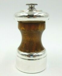 Antique Peugeot Freres 1608 3.75 Tall Sterling Silver And Wood Pepper Mill