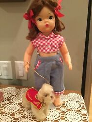 Doll Terri Lee Auburn Wig 2 Piece Pedal Pusher Set Tagged 1950s With Snobby Dog