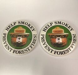 Smokey The Bear Help Prevent Forest Fires Large Round Ranger Metal Pin Badge