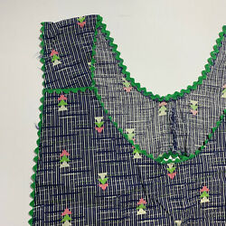 Vintage Hand Full Sewn Apron 40s 50s Blue Pink Green - Great Pattern