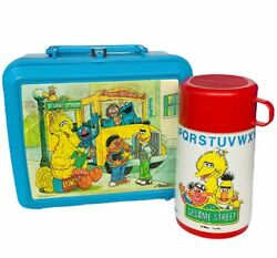 Lunchbox Thermos Vtg Plastic Aladdin Lunch Box Sesame Street Muppets Grover Bus