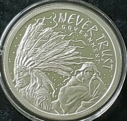 5 Oz .999 Pure Silver Shield Proof Never Trust Government Round Coin Wastweet