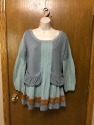 TRACY PORTER Tunic top size 4 6 Blue Green BOHO Bohemian Small H20