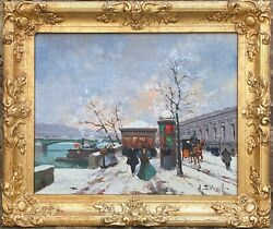 Henri Alexis Schaeffer Listed Paris Street Left Bank In The Snow Like Cortes