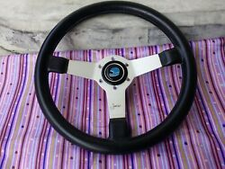 Vintage 70and039s Momo Jacky Ickx Signed Steering Wheel With Momo Helmet Horn