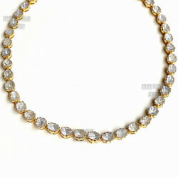 Estate 11.99cts Real Old Mine Antique Cut Diamond Silver Tennis Necklace Jewelry
