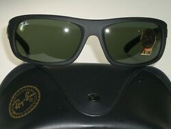 RAY BAN RB4166 622 3N THICK MATTE BLACK G15 UV CRYSTAL LENS WRAP SUNGLASSES NEW $255.99