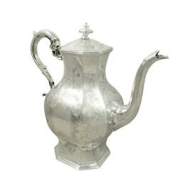Early Antique Victorian Sterling Silver 3 Pint Coffee Pot - 1841