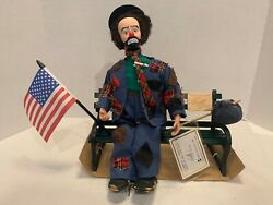 Emmett Kelly Wind-up Musical Doll Old Glory Pristine W/all Accessories