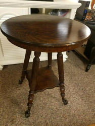 Antique Tiger Oak Parlor Lamp Table W/claw Ball Feet And Gargoyle Leaf Man Face