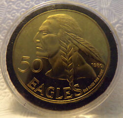 1980 Cherokee Indian Nation Of Texas 50 Eagles Brass Coin Pattern/trial Piece