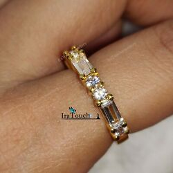 0.75 Ct Baguette amp; Round Cut Diamond Wedding Band Ring 14K Yellow Gold Over $89.18
