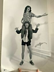 Angus Young Ac/dc Signed Huge 24x16 Inch Photo Bas Beckett