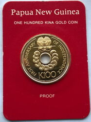 Papua New Guinea 1976 Old Hole Coin 100 Kina Gold Coinproof