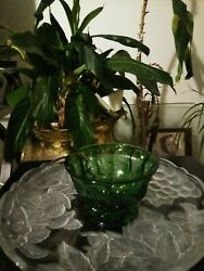 Anchor Hockings Footed Depression Glass Bowl ,forest Green . Antique