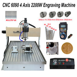 2.2kw Cnc Router Milling Engraving Machine 6090 4-axis Cutting Andhandwheel Andsink
