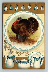 Thanksgiving - A/s Clapsaddle Vintage Postcard Turkey Surrounded By China Plates