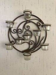 Vintage Iron Wrought Candle Holder Circle With 9 Votive Glass Holders