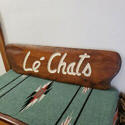 Vintage Le Chats Wood Sign Double Sided Carved White Paint Cafe Restaurant Cats
