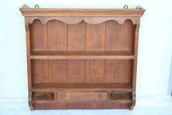 Vintage Wall Hanging Curio Cabinet Shelf Table Top Open Wood Display Case