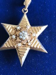 Antique 14k Yellow Gold Pendant-locket , With Pearl Seeds, Circa 1900