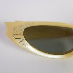 Cat Eye Sunglasses Vintage 50s 60s Rockabilly Cool Ray Polaroid 145 VLV Pearl $37.95
