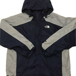North Face Mens Hydrenaline Jacket Full Zip Pockets Hooded Blue Gray Size Large $24.95