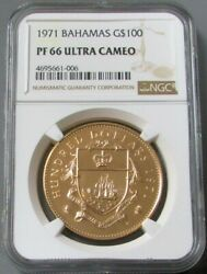 1971 Gold Bahamas 100 Ngc Proof 66 Ultra Cameo Only 1250 Minted