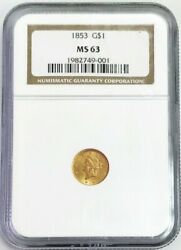1853 Gold United States Liberty Head Type 1 1 Dollar Coin Ngc Mint State 63