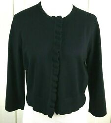 Cable And Gauge Cardigan Women's L Black Long Sleeve Sweater Ruffle Trim Cropped $14.99