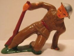Old Lead Barclay Military Army Soldier Falling Down W/ Rifle - Cast Helmet