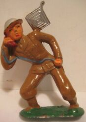 Old Lead Barclay Military Soldier Leaning W/ Field Phone And Antenna - Cast Helmet