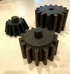 Set Of 3 Wood Mold Foundry Pattern Antique Industrial Machinery Wooden Gear Cogs