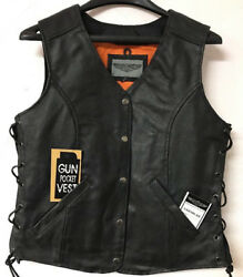 New Womens Leather Vest Conceal To Carry Vest Snap Closure W/ Side Laces Black