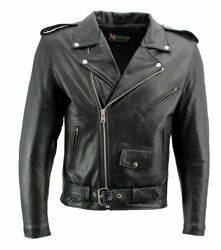 Mens Classic Black Motorcycle Leather Jacket Biker Jacket Coat CONCEAL TO CARRY $99.95