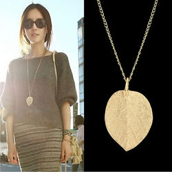 Cheap Costume Shiny Jewelry Gold Leaf Pendant Necklace Long Sweater Chain Rufeh