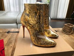 Christian Louboutin Gold Booty Cap 100mm Ankle Boots New