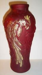 Fenton Glass Ruby Red Satin Gold Hp 12.5 Parrot Vase Nfgs Exclusive 2011