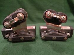 Lot Of 2 Harken Pulleys, Cam-matic, And Rail Anchors