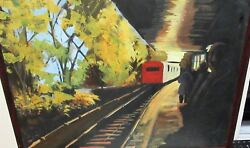 People Leaving The Train Station Original Oil On Canvas Painting Unsigned