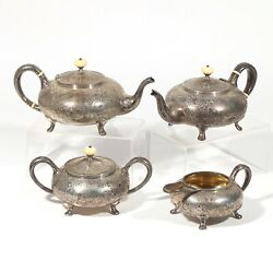 Beautiful Antique Rare Barbour 4 Piece Sterling Silver Coffee Tea Set66.8 Ozt